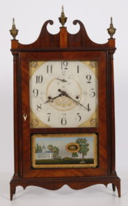 Early Connecticut Wood Works 30-hr Off Center Pillar & Scroll Clock made by Seth Thomas